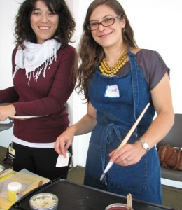 Analia Saban and Claire de Dobay Rifelj at a collage workshop on October 19, 2011