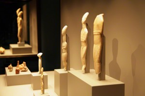 Cycladic figures on display at the J. Paul Getty Museum at the Getty Villa