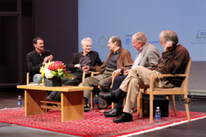 Reed Johnson (moderator) with, from left, filmmakers Thom Andersen and William Friedkin and film critics Richard Schickel and Kenneth Turan