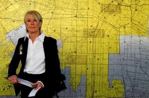 Suzanne Lacy with the Rape Map at LAPD headquarters, January 2012