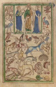 Adam Naming the Animals in the Northumberland Bestiary / English