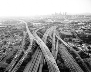 Highways 5, 10, 60, and 101 Looking West, L.A. River and Downtown Beyond / Michael Light