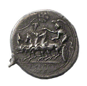 Coin with Nike Driving a Four-Horse Chariot
