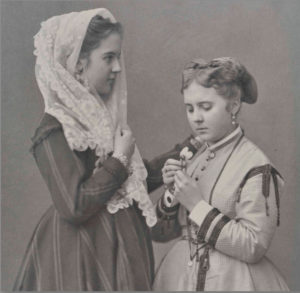 An early carbon photograph by Adolphe Brown, Two Girls (detail), date unknown. Private collection.