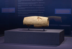 The Cyrus Cylinder as installed at the Getty Villa / Achaemenid
