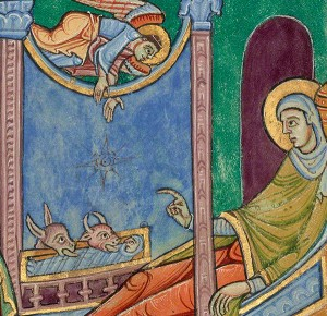 Detail of Christ and Mary from the Nativity in the St. Albans Psalter / Alexis Master