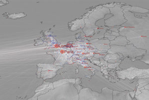 Birth to death migration in Europe, according to the Getty's Union List of Artist Names, cumulated over all time to CE 2012. Blue dots indicate the births of notable individuals; red dots indicate deaths. © Maximilian Schich, 2014