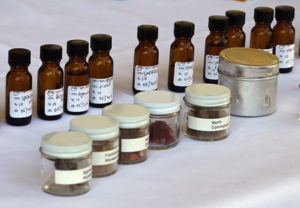 Bottles of aromatics at a recent Getty Villa workshop