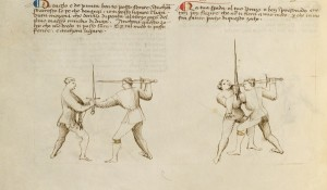 Combat with Swords (detail), from Fiore dei Liberi, Fior di Battaglia, possibly Venice or Padua, ca. 1410. Tempera colors, gold leaf, and ink on parchment, 11 x 8 1/8 in. The J. Paul Getty Museum, Ms. Ludwig XV 13, fol. 20v