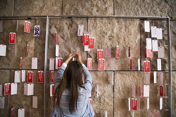 Visitor and student responses to the questions are displayed in the installation