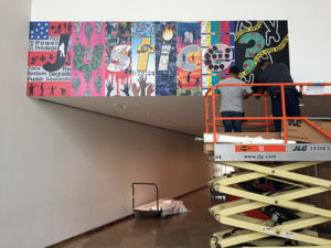 Installation of Barbara Kruger's Whose Values in the Museum Entrance Hall