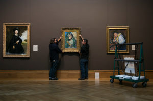 Hanging Manet's Spring in the Getty Center, West Pavilion