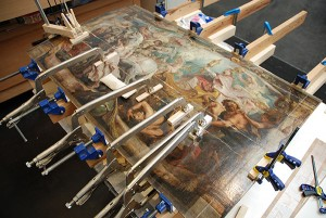 Peter Paul Rubens's Triumph of the Church during treatment