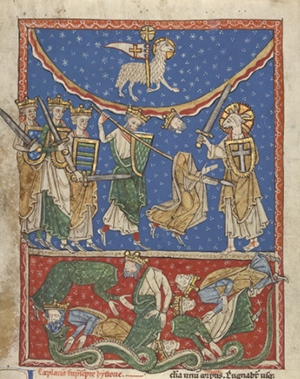 The Lamb Defeating the Ten Kings, about 1220 - 1235, Unknown. Tempera colors and gold leaf on parchment. 11 9/16 x 9 1/4 inches. The J. Paul Getty Museum. Ms. 77, recto.