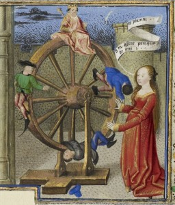 Philosophy Consoling Boethius and Fortune Turning the Wheel (detail) from The Consolation of Philosophy by Boethius, Coëtivy Master (Henri de Vulcop?), about 1460—70. The J. Paul Getty Museum, Ms. 42. Leaf 1v