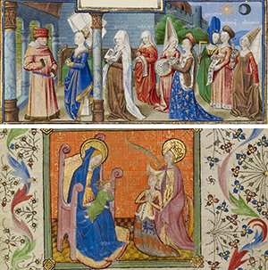 Top: Philosophy Presenting the Seven Liberal Arts to Boethius, about 1460 - 1470, Coetivy Master (Henri de Vulcop?). Tempera colors, gold leaf, and gold paint on parchment. 2 3/8 x 6 11/16 inches. Ms. 42, leaf 2v. The J. Paul Getty Museum. Bottom: Saint Catherine Presenting a Kneeling Woman to the Virgin and Child, about 1400-1410, French. Tempera colors, gold leaf, gold paint, and ink on parchment. 7 7/16 x 5 3/16 inches. Ms. Ludwig IX 4, fol. 105. The J. Paul Getty Museum