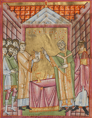 Bishop Engilmar Celebrating Mass, about 1030 - 1040, Unknown. Tempera colors, gold leaf, and ink on parchment, 9 1/8 x 6 5/16 inches. The J. Paul Getty Museum