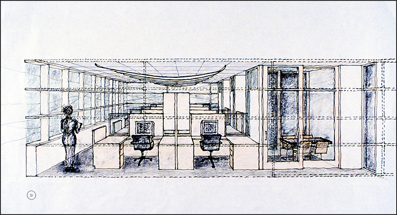 Architectural sketch of the Getty Conservation Institute offices