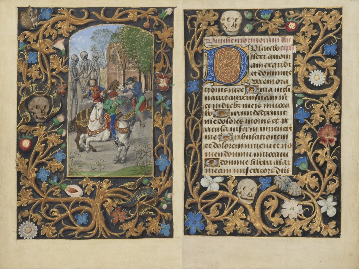 The Three Living and the Three Dead and Decorated Text Page from Crohin-LaFontaine Hours, Master of the Dresden Prayer Book or workshop, about 1480-85. The J. Paul Getty Museum, Ms. 23, fols. 146v-147