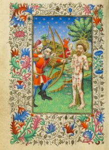 The Martyrdom of Saint Sebastian, Master of Sir John Fastolf, about 1430-40. The J. Paul Getty Museum, Ms. 5, fol. 36v