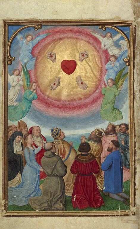 The Worship of the Five Wounds from the Prayer Book of Cardinal Albrecht of Brandenburg, Simon Bening, about 1525-30. The J. Paul Getty Museum, Ms. Ludwig IX 19, fol. 335v
