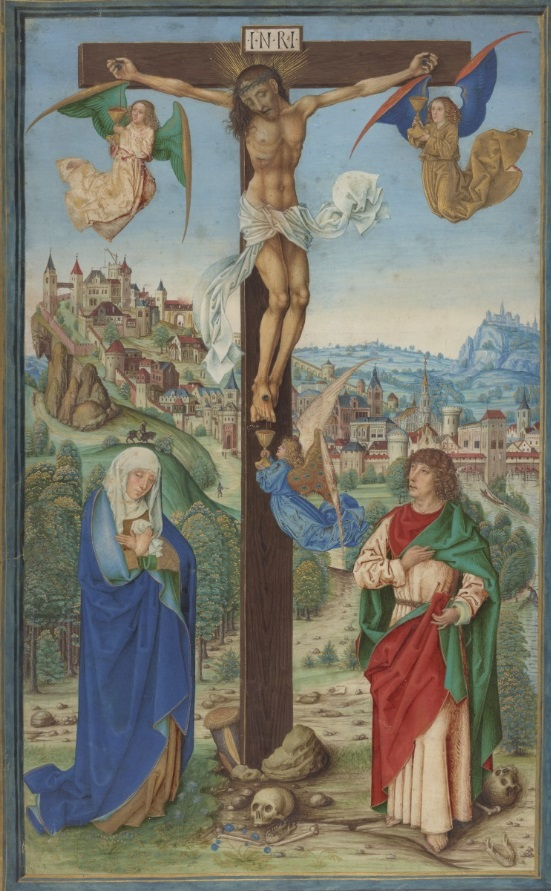 The Crucifixion, fourth quarter of the 15th century. Ms. 52, recto