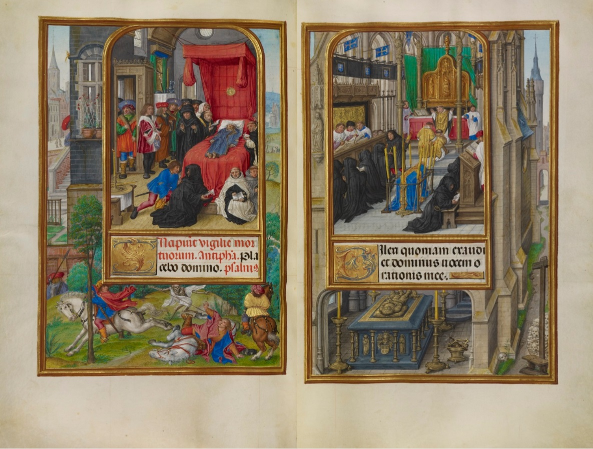 Deathbed Scene and Office of the Dead, Master of James IV of Scotland, about 1510-20. The J. Paul Getty Museum, Ms. Ludwig IX 18, fols. 184v-185