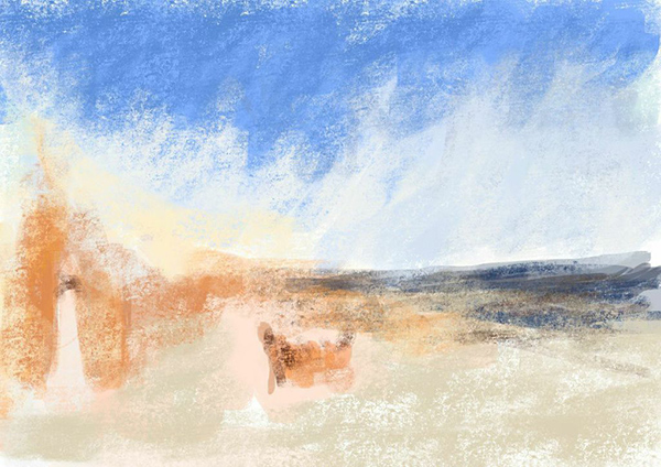 iPad sketch by Elke Reva Sudin inspired by J. M. W. Turner