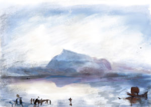 iPad sketch by Elke Reva Sudin inspired by J. M. W. Turner's Blue Rigi—Sunrise