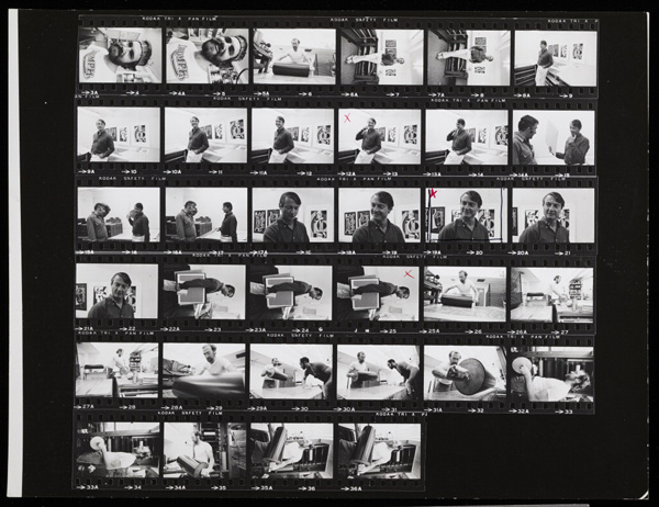 Contact sheet of Roy Lichtenstein, circa 1969, Malcolm Lubliner
