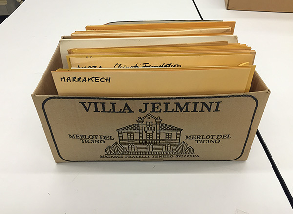 Wine box used by Harald Szeemann to file his business papers