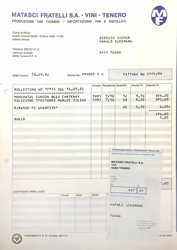 Receipt for purchases of wine by Harald Szeemann