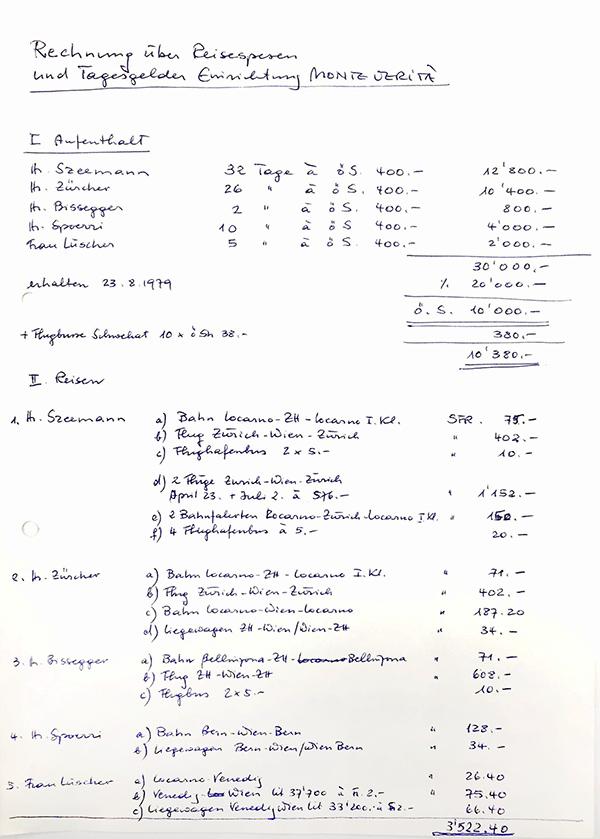 Handwritten wine receipt / Harald Szeemann