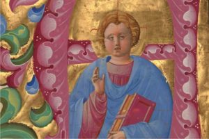 Initial A: Young Christ Blessing (detail) from Antiphonal P of San Giorgio Maggiore, Belbello da Pavia, about 1467-1470. The J. Paul Getty Museum, Ms. 96, verso