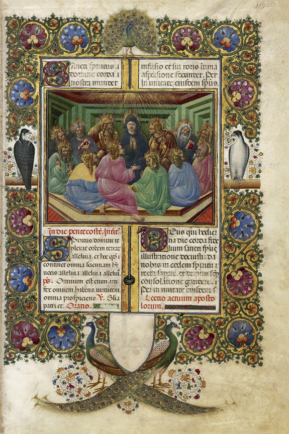 Pentecost from Missal of Barbara Brandenburg-Gonzaga, Belbello da Pavia, 1442-65. Archivio Storico Diocesano, Mantua (Ms. s.s., fol. 209). Photo: Roberto Bini for the facsimile edition, © Il Bulino edizioni d'arte, Italy