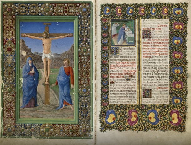 The Crucifixion and A Priest Celebrating Mass from Missal of Barbara Brandenburg-Gonzaga, Girolamo da Cremona (left) and Belbello da Pavia (right), 1442-65. Archivio Storico Diocesano, Mantua (Ms. s.s., fols 182v-183). Photo: Roberto Bini for the facsimile edition, © Il Bulino edizioni d'arte, Italy