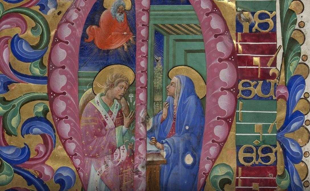 Initial M: The Annunciation from Antiphonal P of San Giorgio Maggiore, Belbello da Pavia, about 1467-70. Fondazione Giorgio Cini, Venice (Inv. 2093)