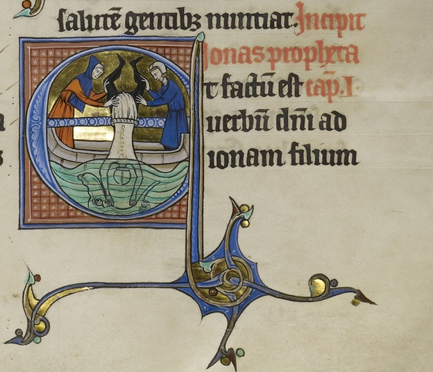 Initial E: Jonah Cast into the Sea from the Marquette Bible, probably Lille, about 1270. Ms. Ludwig I 8, vol. 2, fol. 181
