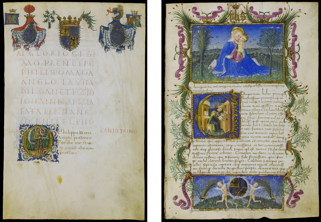 Left: Initial O: Saint John the Baptist in Francesco Filelfo Life of Saint John the Baptist, Lombard Illuminator, for Filippo Maria Visconti, 1445. Archivio Storico Civico e Biblioteca Trivulziana Triv. 732, fol. 1 (© Comune di Milano. All rights reserved.) Right: The Virgin and Child; Initial C: Saint Augustine in Martino Garati's Treatise on Princes, Pietro di Giovanni d'Ambrogio, for Filippo Maria Visconti, 1446–47. Archivio Storico Civico e Biblioteca Trivulziana Triv. 138, fol. 1 (© Comune di Milano. All rights reserved.)