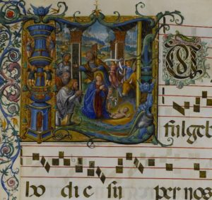 Initial L: The Nativity, Master B. F., about 1542–45. Archivio Storico Civico e Biblioteca Trivulziana, Milan Corale A, fol. 33 (© Comune di Milano. All rights reserved.)
