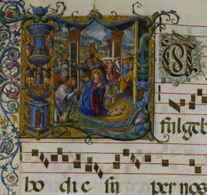 Initial L: The Nativity, Master B. F., about 1542–45. Archivio Storico Civico e Biblioteca Trivulziana, Milan Corale A, fol. 33 (© Comune di Milano. All rights reserved.)