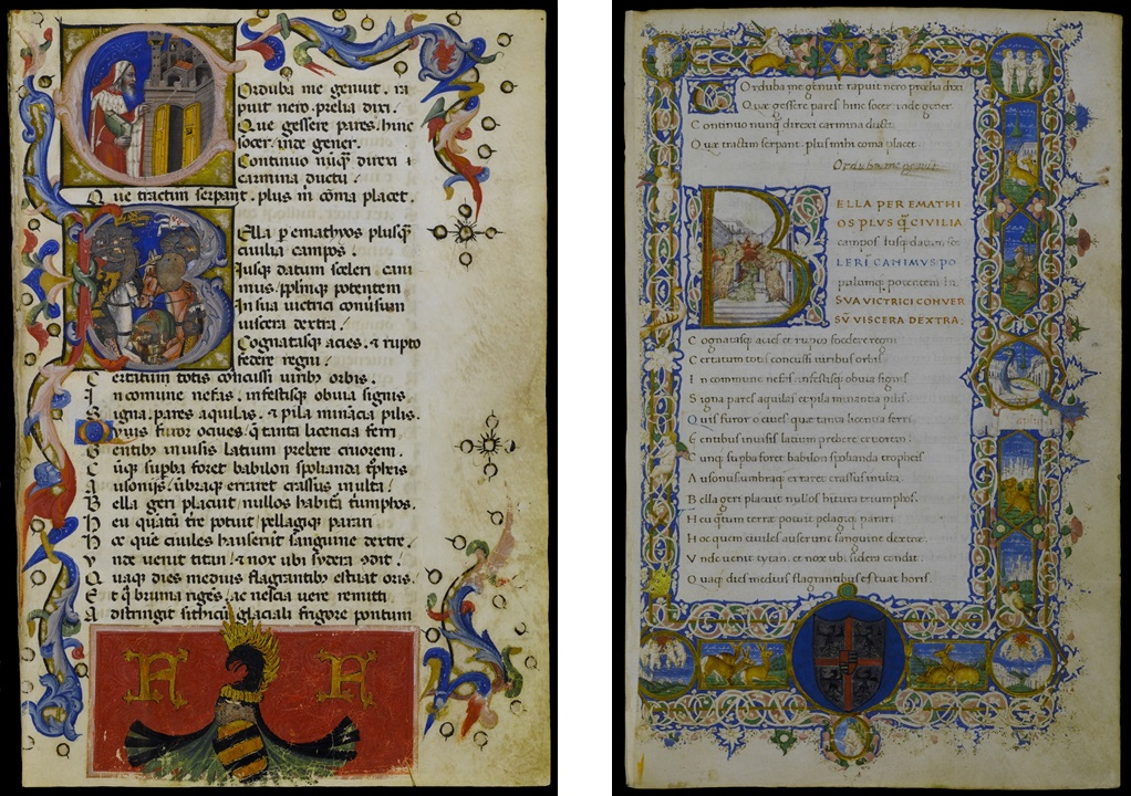 Left: Initial C: The Poet Lucano; Initial B: The Encounter between Caesar and Pompey in Lucanus's Pharsalia, Niccolò da Bologna, for Francesco Gonzaga, 1373. Archivio Storico Civico e Biblioteca Trivulziana Triv. 691, fol. 3 (© Comune di Milano. All rights reserved.); Right: Initial B: Three Angels Holding the Sun in Lucanus's Pharsalia, Raffaele Berti, for Ludovico III Gonzaga, 1456. Archivio Storico Civico e Biblioteca Trivulziana Triv. 692, fol. 1 (© Comune di Milano. All rights reserved.)