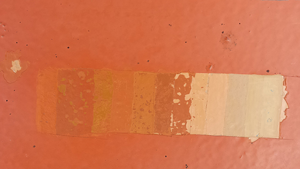 Various paint colors used through the years for Duet. Photo by Shefali Mistry. Courtesy University Art Museum, California State University, Long Beach