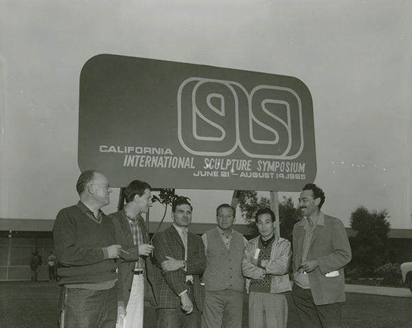 Some of the artists participating in the 1965 Sculpture Symposium. Left to right: Joop Beljon, Robert Murray, Piotr Kowalski, Gabriel Kohn, Kengiro Azuma, Kosso Eloul. Reproduced courtesy Special Collections and University Archives, California State University Long Beach, International Sculpture Symposium, 1965.