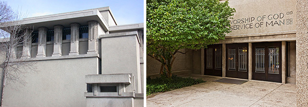 Left: Unity Temple's west façade with stylized concrete piers. Right: entrance doors and west terrace. Photos courtesy of the Unity Temple Restoration Foundation