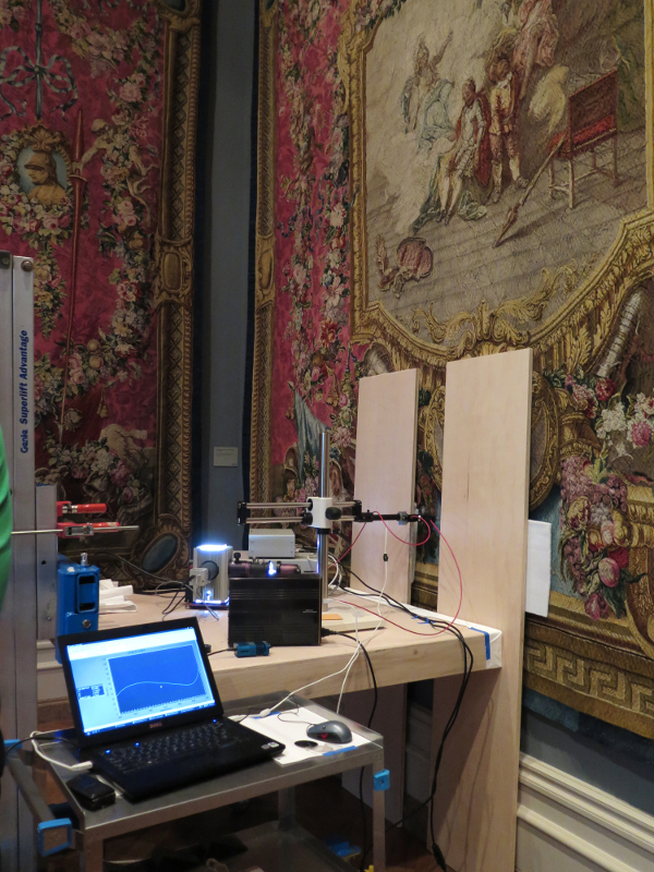 Microfadeometry setup in a Getty Museum gallery displaying 18th-century tapestries