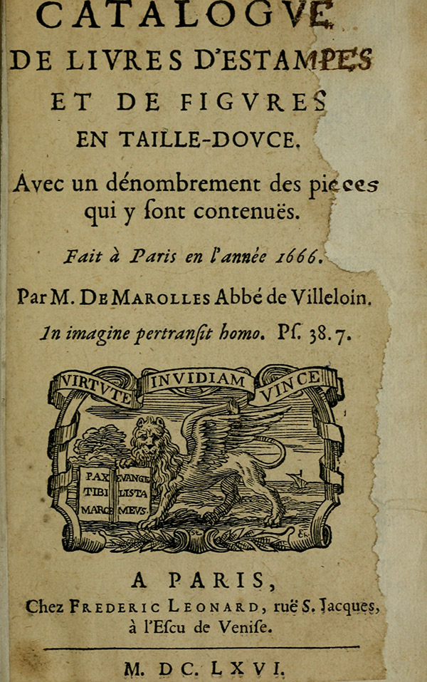 Title page from Michel de Marolles' Catalogue de livres d'estampes
