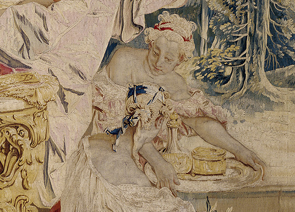 Toilette of Psyche tapestry - detail of attendant holding powder and perfume