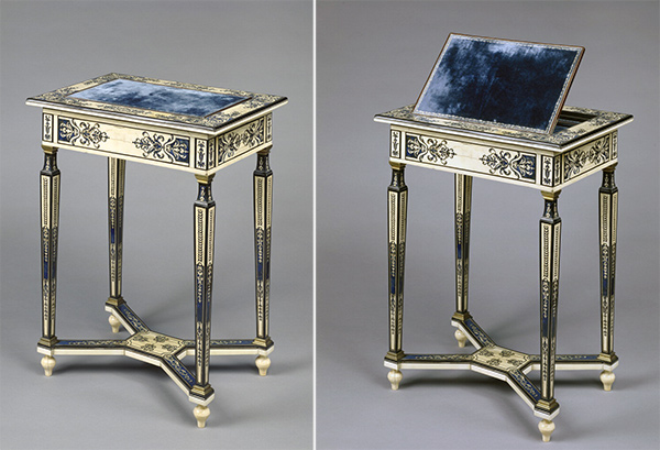 Oak, horn, and ivory writing table