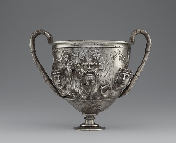 Drinking cup (cantharus) with masks / Roman
